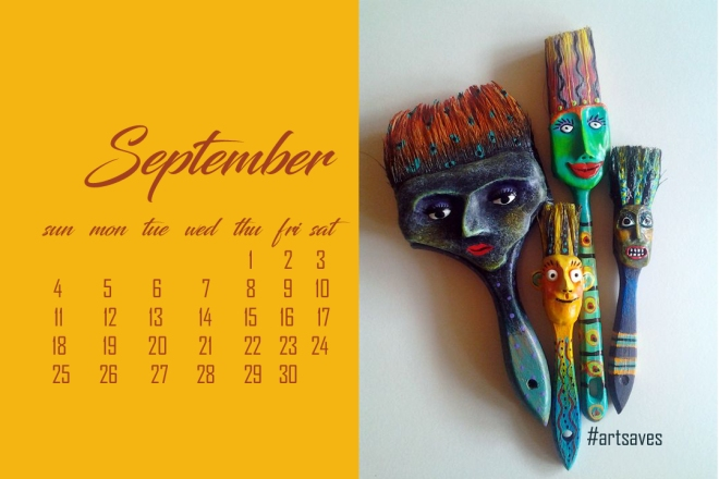 artful paint brushes sept2016 calendar